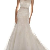 HoneeyGirl Latest Sleeveless Lace Appliques Mermaid Tulle Bridal Dress Wedding Gown white 4