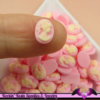 10 pcs Tiny VICTORIAN LADY CAMEO in Light Pink Nail Art Resin Flatback Cabochon 8x6mm