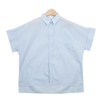 Striped Unbalanced Single-Pocket Shirt