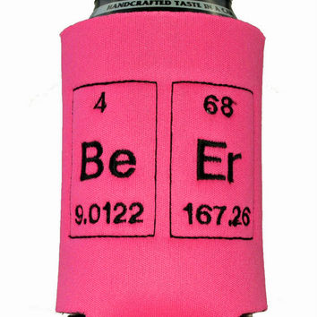Pink Beer Periodic Table Embroidered Neoprene Can Koozie