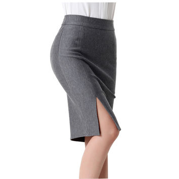 Fashion summer autumn 2016 new women skirt plus size high waist work slim pencil skirt open fork sexy office lady skirts female