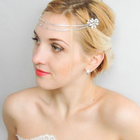 Bridal Headpiece,Art Deco Headpiece,Rhinestone piece,Hair Chain, Chain Headpiece,Wedding Hair ,Boho Head Piece