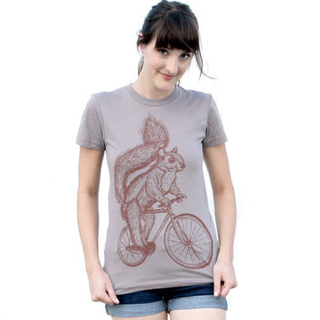 Womens SQUIRREL T Shirt on Bicycle Sustainable Edition American Apparel