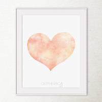 Printable art Girls decor Peach heart wall art, Printable wall art print Girls bedroom decor Heart art print, Heart nursery art Wall print