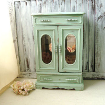 Large Mint Jewelry Box, Vintage Jewelry Holder with Glass Doors, Tall Jewelry Box, Cottage Chic Pastel Green Jewelry Holder, Gift Ideas