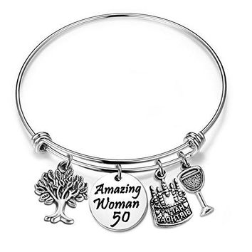 ENSIANTH Birthday Gift for Her Adjustable Birthday Bracelet Bangle with Birthday Cake Charm10th 12th Sweet 16th 18th 21st 30th 39th 40th 50th Bangle giftAnniversary Gift