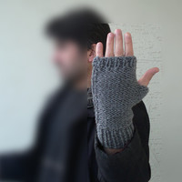 Knitted mens mitten, mens fingerless gloves in gray, Winter 2013, mens fashion, christmas gift , valentines, gift for him