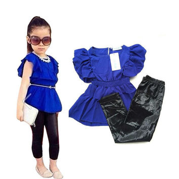 new Kids girls clothes summer wear Short sleeve suit Children clothing sets t shirt+ pants