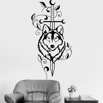 Vinyl Wall Decal Sword Wolf Animal Predator Tribal Decor Stickers Unique Gift (ig3527)
