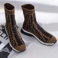 FENDI Fashionable Woman Leisure Knit Socks Boots Breathable Sneakers Running Shoes Coffee