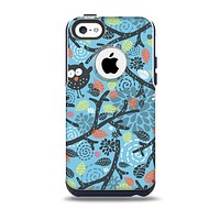 The Blue and Black Branches with Abstract Big Eyed Owls Skin for the iPhone 5c OtterBox Commuter Case