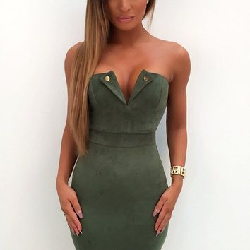 Over The Line Green Faux Suede Strapless V Neck Bodycon Mini Dress