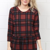 Wonderful Plaid Peplum Knit {Mauve}