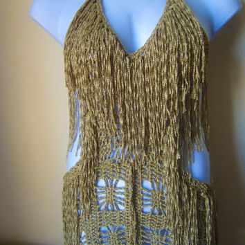 Crochet dress, Fringe monokini halter mini dress, beach cover up, resort wear, party, gypsy, salsa dancing Gold bamboo yarn
