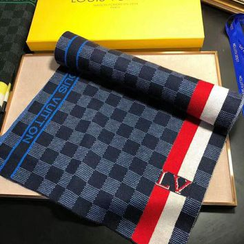LV autumn and winter new men's wild fashion long knit shawl scarf #3