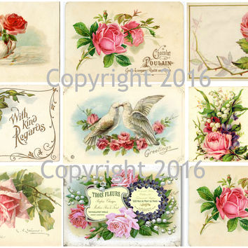 French Roses Collage Sheet  Printed Collage Sheet,  Weddings, Decoupage, Scrapbook, Altered Art, Victorian Scrap