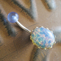 Blue Opal Belly Button Jewelry Stud Ring- Navel Piercing Bar Barbell