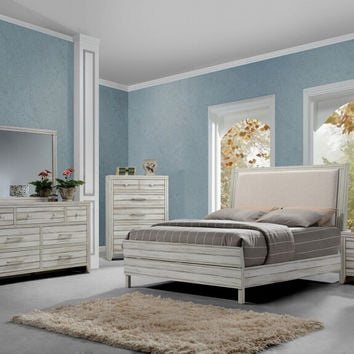 Acme 23980Q 5 pc Shayla antique white finish wood fabric padded queen platform bed set