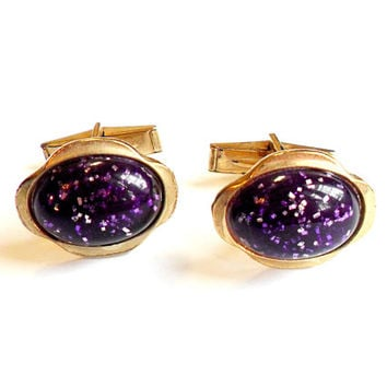 Vintage Purple Glitter Cufflinks - Confetti Lucite - Embedded Glitter - Gold Tone Metal - Wedding Groom Gift - Lucite Cabochon