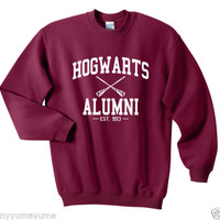 Hogwarts Alumni Harry Potter Sweatshirts Red Maroon UNISEX SIZE S, M, L, XL