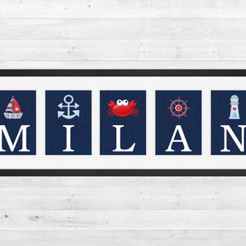 Personalized Nursery Letters, Custom Decor Prints, Nautical Letters in Red White Blue, Boy Name Prints, Custom Name Art, Nursery Decor, 8x10
