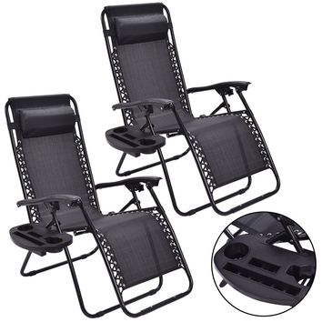Giantex 2pc Zero Gravity Chairs Lounge Patio Folding Recliner Outdoor Black Portable Beach Chair with Cup Holder OP3026-2BK