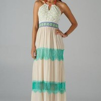 Off White Halter Maxi Dress with Lace & Embroidered Detail