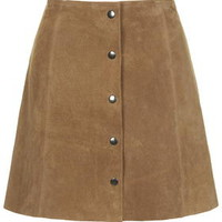 Suede Button Through A-Line Skirt