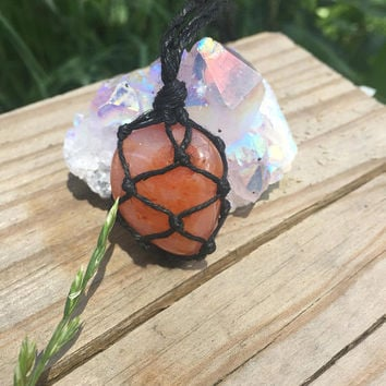 Hemp Necklace: Carnelian Stone Wrapped with Hemp Cord, Hemp Jewelry, Crystal Necklace, Crystal Jewelry, Macrame, Carnelian, Healing Stone