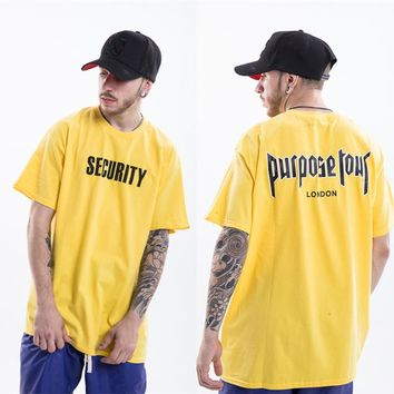 YouthCodes Purpose Tour Kanye West Justin Bieber Brand T Shirts Men London SECURITY Stadium Limited Yellow World 2018 Gothic T
