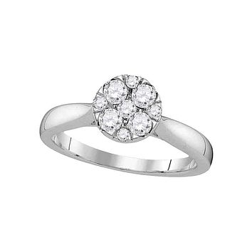 14kt White Gold Women's Round Diamond Cluster Bridal Wedding Engagement Ring 1/2 Cttw - FREE Shipping (US/CAN)