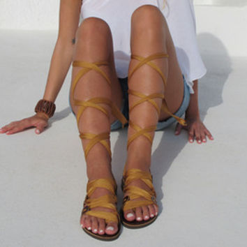 "Greek Gladiator sandals, Customizable Choose scarf laces from 20 colors and leather footbed from 6 colors ""ATHENA"" ATHS02"