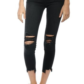 Just Black Cropped Destroyed Hem Skinny