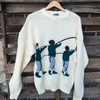 Mens Vintage Sweater knit unique pullover crew neck fly fishing sports shirt virgin shetland wool XL Sweater
