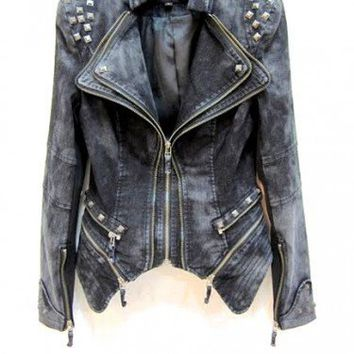 Denim Embelished Biker Style Jacket by MischaLove on Sense of Fashion