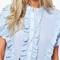 Grace Ruffle Short Sleeved Shirt | Boohoo