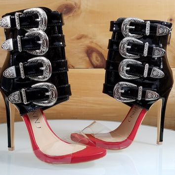 Mac J Black Patent Multi Strap High Heel Ankle Boot Sandal Red