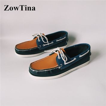 Mixed Color Boat Shoes Man Lace Up Casual Moccasins Size 46 sapato masculino Chaussure Homme Vintage Zapatillas Hombre Loafers 1