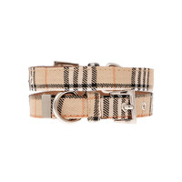 Brown Checked Tartan Fabric Dog Collar