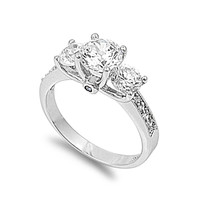 925 Sterling Silver CZ Three Stones Engagement Ring 7MM