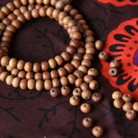 Aromatic 7mm Sandalwood Beads- 108 beads / Natural Indian Sandalwood / Silk Road Boho, Yoga Craft, Jewelry-Making Supplies