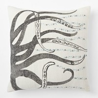 Embellished Octopus Silk Pillow Cover