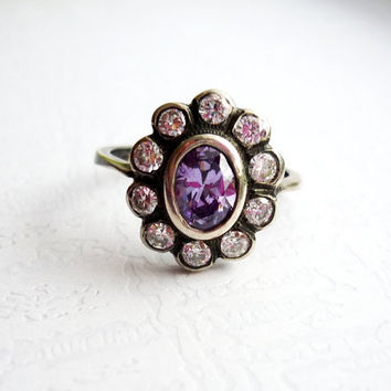 Purple Amethyst Silver Ring, Halo Ring, Cocktail Ring, Vintage Style, Antique Style, Gift for Her, Free Shipping to EU, US, CAN