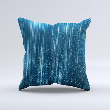 The Radiant Blue Scratched Surface ink-Fuzed Decorative Throw Pillow