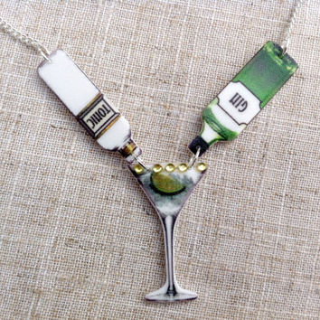 Gin and tonic - Gin necklace - Cocktail necklace - Gin lover - Quirky necklace - Statement necklace - Gin gift - Mother's Day - Gin bottle