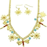 Turquoise Dragonfly Flower Necklace And Earring Set