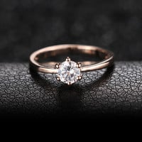 New Fashion 18K Rose Gold Plated Classic 6 Claws 1.2 Carat Simulated Diamond Wedding Rings for Women