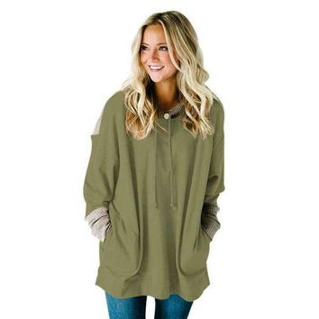 Waffle Knit Splice Army Green Pocket Hoodie