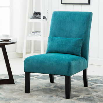 Roundhill Furniture Pisano Teal Blue Fabric Armless Contemporary Accent Chair with Kidney Pillow Single