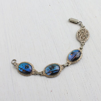 Vintage Blue Morpho Butterfly Wing Bracelet - 1940s Silver Tonel Palm Tree Floral Linked Jewelry / Souvenir Panel